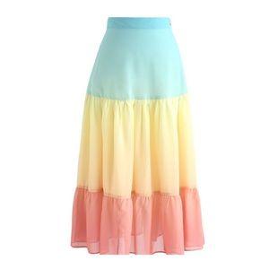 NWT Vacay Paradise Color Blocked Chiffon Skirt XS